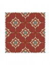 PRÓBKA Tkanina w ornamenty geometryczne na czerwonym tle 02 CRUSH VELVET