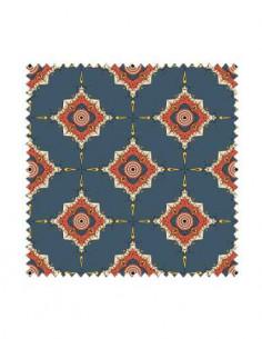 PRÓBKA Tkanina w ornamenty geometryczne na granatowym tle 01 CRUSH VELVET