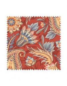 PRÓBKA Tkanina w kwiaty i liście orientalne na czerwonym tle 02 CRUSH VELVET