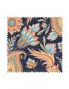 Próbka Tkanina w kwiaty i liście orientalne na granatowym tle CRUSH VELVET