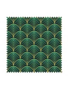 PRÓBKA Tkanina w złote wachlarze na zielonym tle 03 CRUSH VELVET