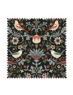 PRÓBKA Tkanina w rustykalne ptaszki i rośliny na grafitowym tle - Magiczny las 02 CRUSH VELVET