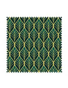 PRÓBKA Tkanina Art deco w złote liście na zielonym tle 03 CRUSH VELVET