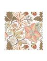 PRÓBKA Tkanina w kwiatowy zielono pomarańczowy wzór na jasnym tle 01 WONDER VELVET
