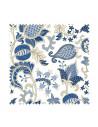 PRÓBKA Tkanina w niebiesko beżowe kwiaty 01 CANVA