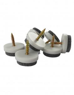 Podkładki filcowe wkręcane koło fi 25mm białe op. 8 szt KM375