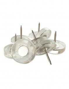 Ślizgi plastikowe wbijane okrągłe fi 25mm transparentne op. 8 szt KM391