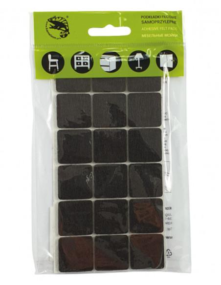 Podkładki filcowe samoprzylepne kwadrat 25x25mm brązowe op. 18 szt KM325