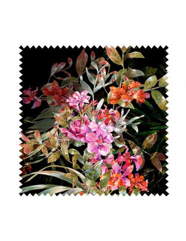 Próbka tkaniny w kwiaty 3D i liście na czarnym tle 01 SOFT VELVET