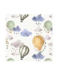 PRÓBKA Tkanina w balony zielone i żółte z chmurkami 01 CANVA
