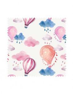 PRÓBKA Tkanina w balony różowe z chmurkami 02 CANVA