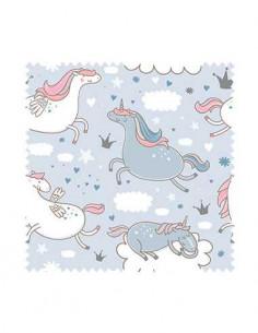 PRÓBKA Tkanina w pegazy niebieskie i białe na tle z chmurkami 01 CRUSH VELVET