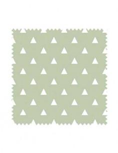 PRÓBKA Tkanina w białe trójkąty na zielonym tle 03 WONDER VELVET