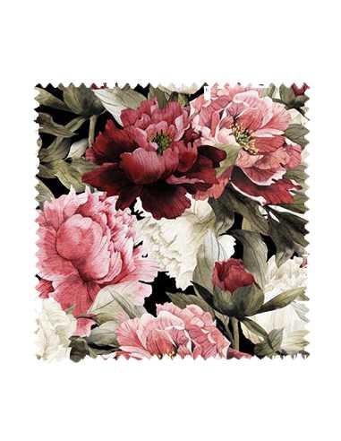 Próbka Tkanina w piwonie kwiaty SOFT VELVET