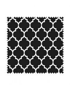 Próbka tkanina w koniczynę marokańską na czarnym tle, arabeska SOFT VELVET