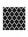 PRÓBKA tkanina w koniczynę marokańską na czarnym tle, arabeska 02 SOFT VELVET