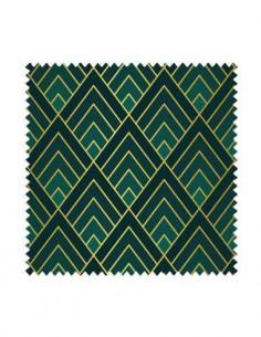 PRÓBKA Tkanina w romby Art deco w kolorze zielonym 01 CRUSH VELVET