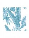 Próbka Tkanina w niebieskie liście SOFT VELVET
